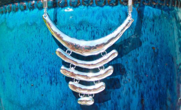 silver 5 bar short necklace