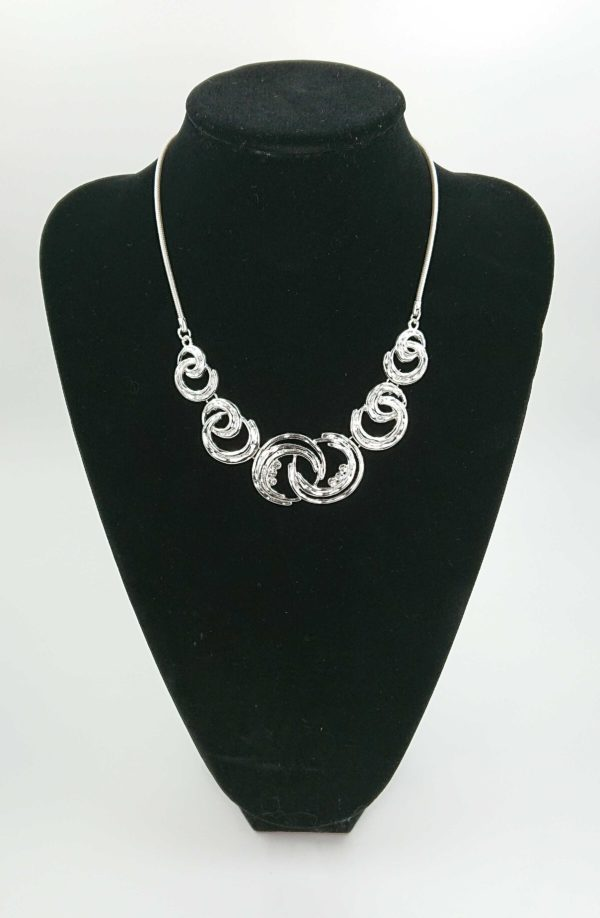 silver moonburst diamante necklace black bust