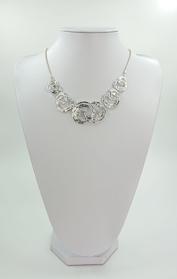 silver moonburst diamante necklace