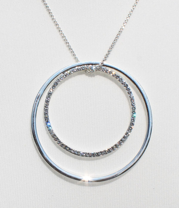 twin ring diamante silver necklace