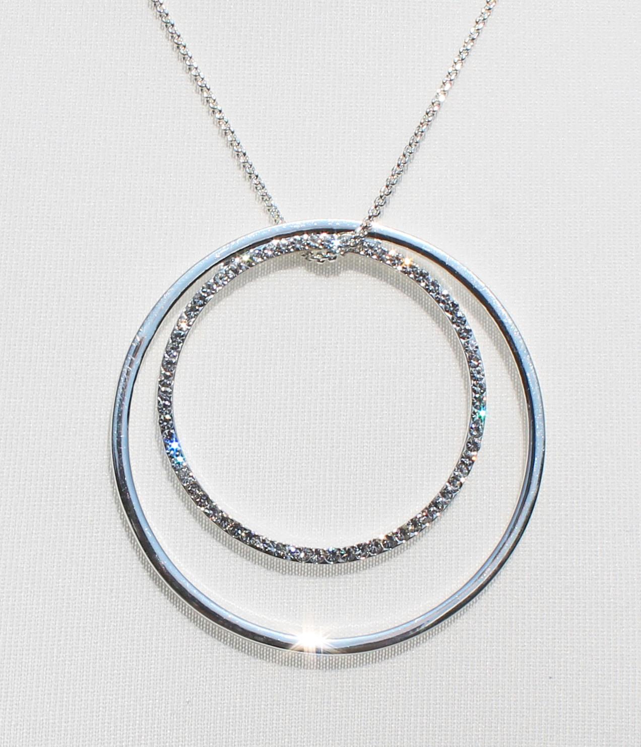 twin ring diamante silver necklace