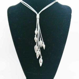 Silver Multi Teardrop Pendant Necklace