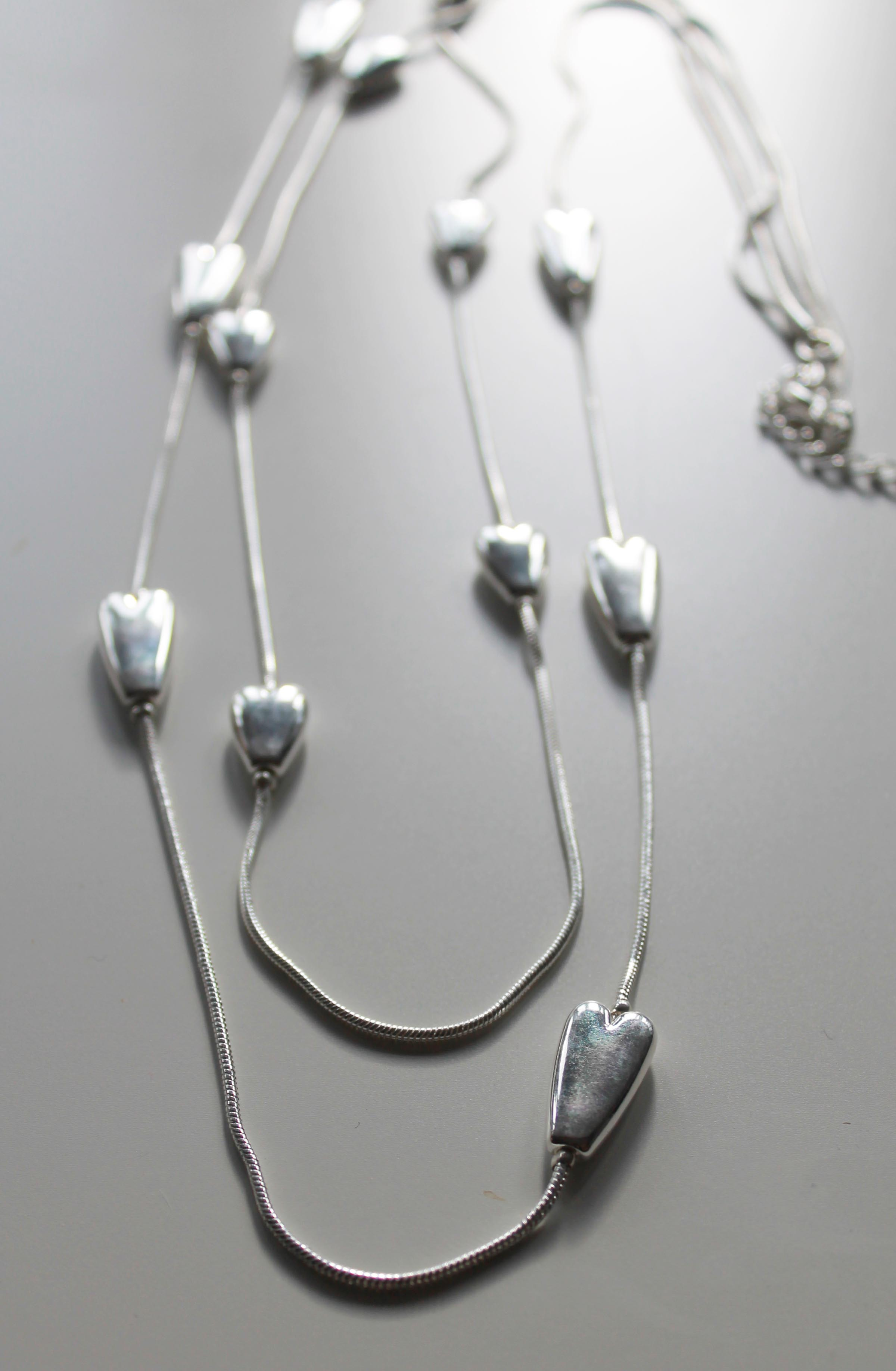 Silver Inline Heart Long Double Strand Necklace