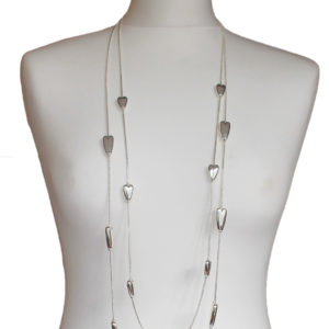 Silver Inline Hearts Necklace