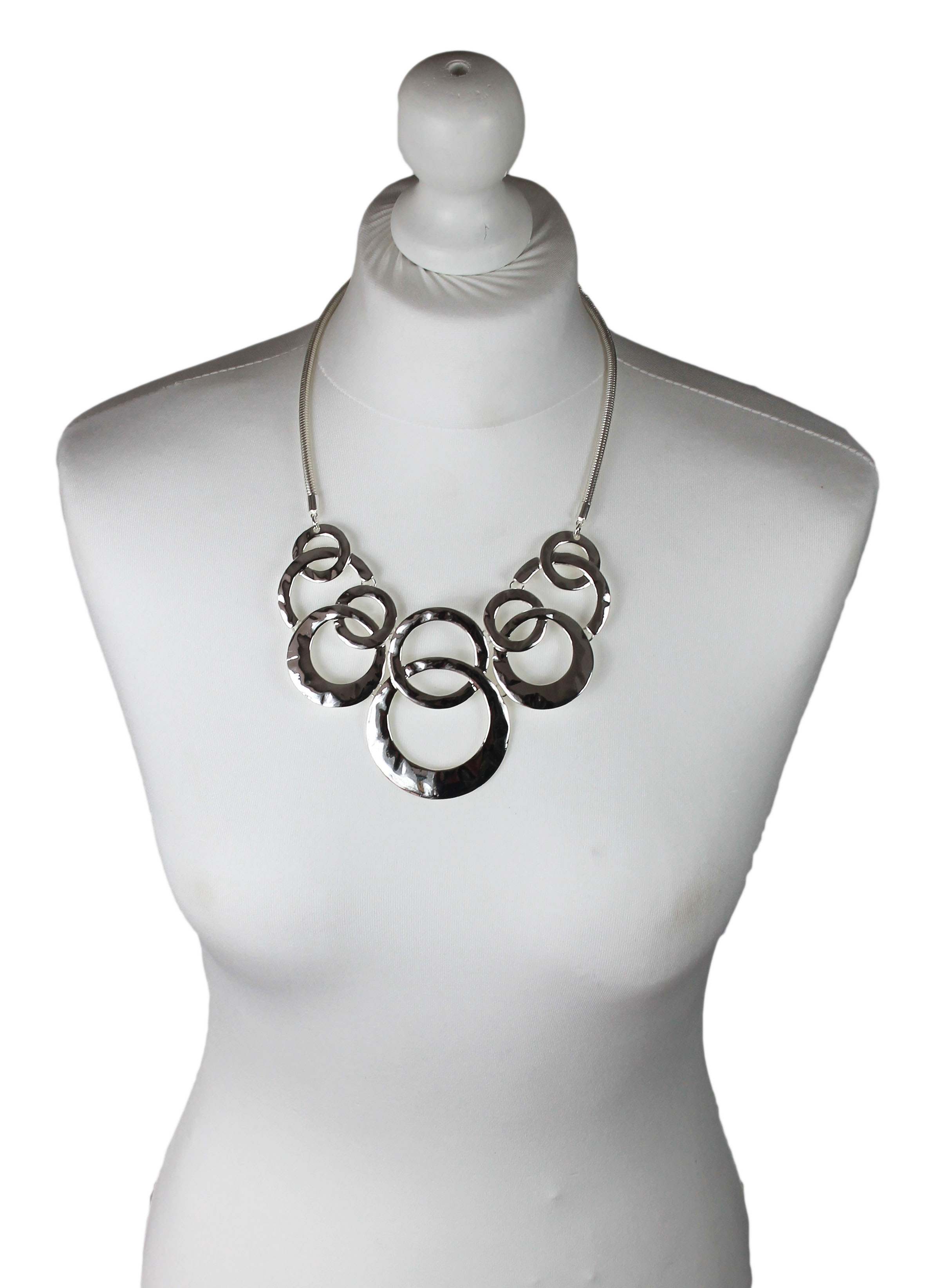 Olympiad silver multiple rings short necklace