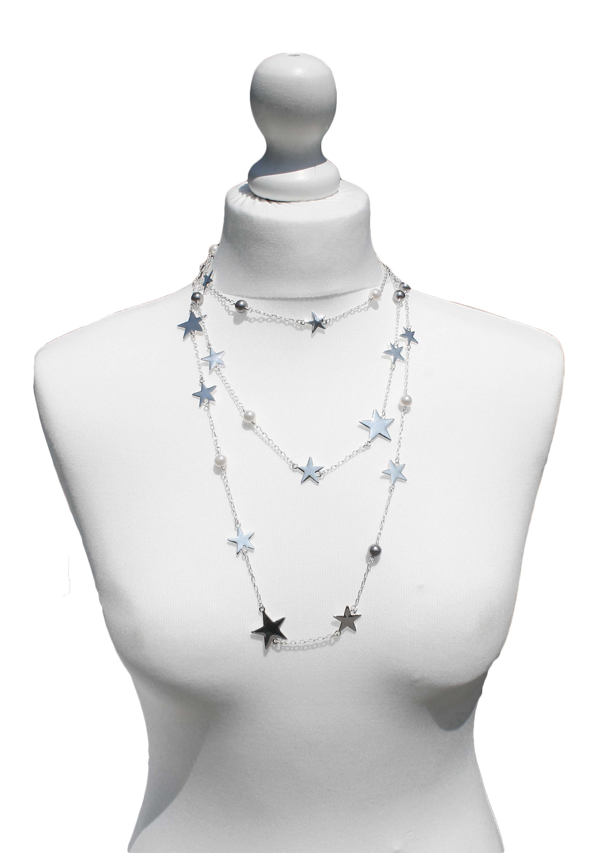 Star and pearl very long silver necklace