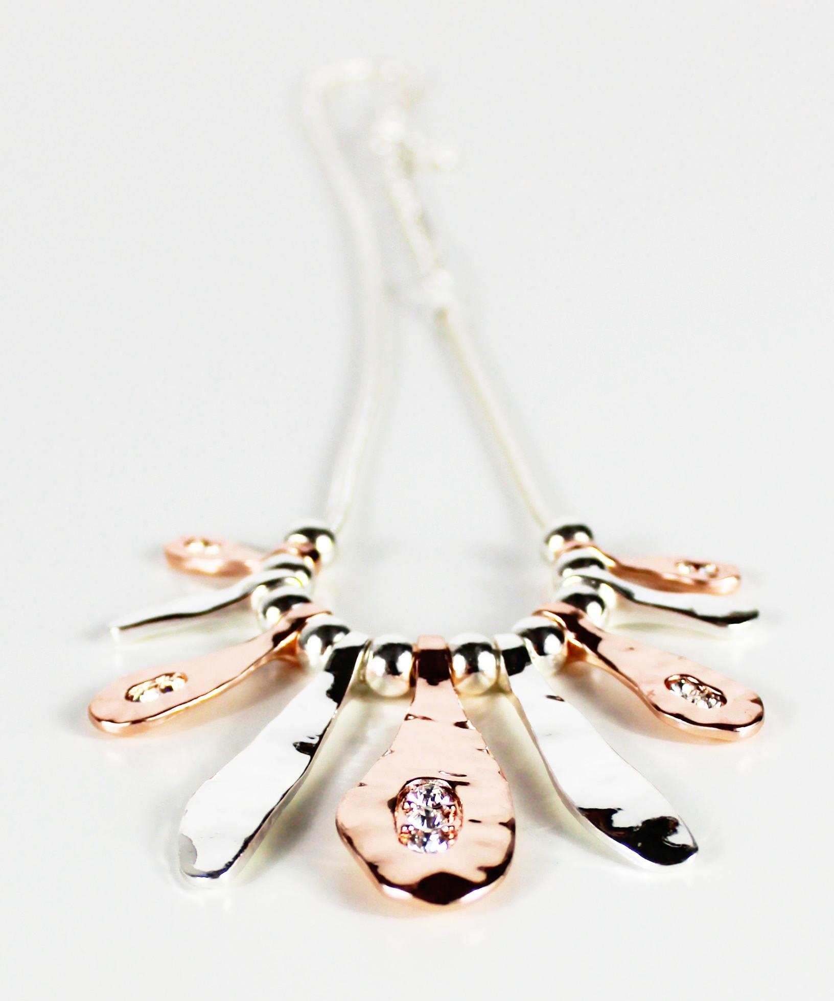 Naive Diamante Silver Gold Short Necklace
