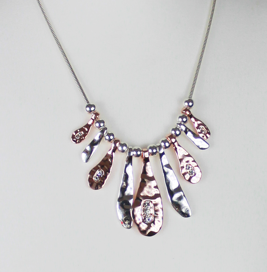 Naive Diamante Silver Gold Short Necklace