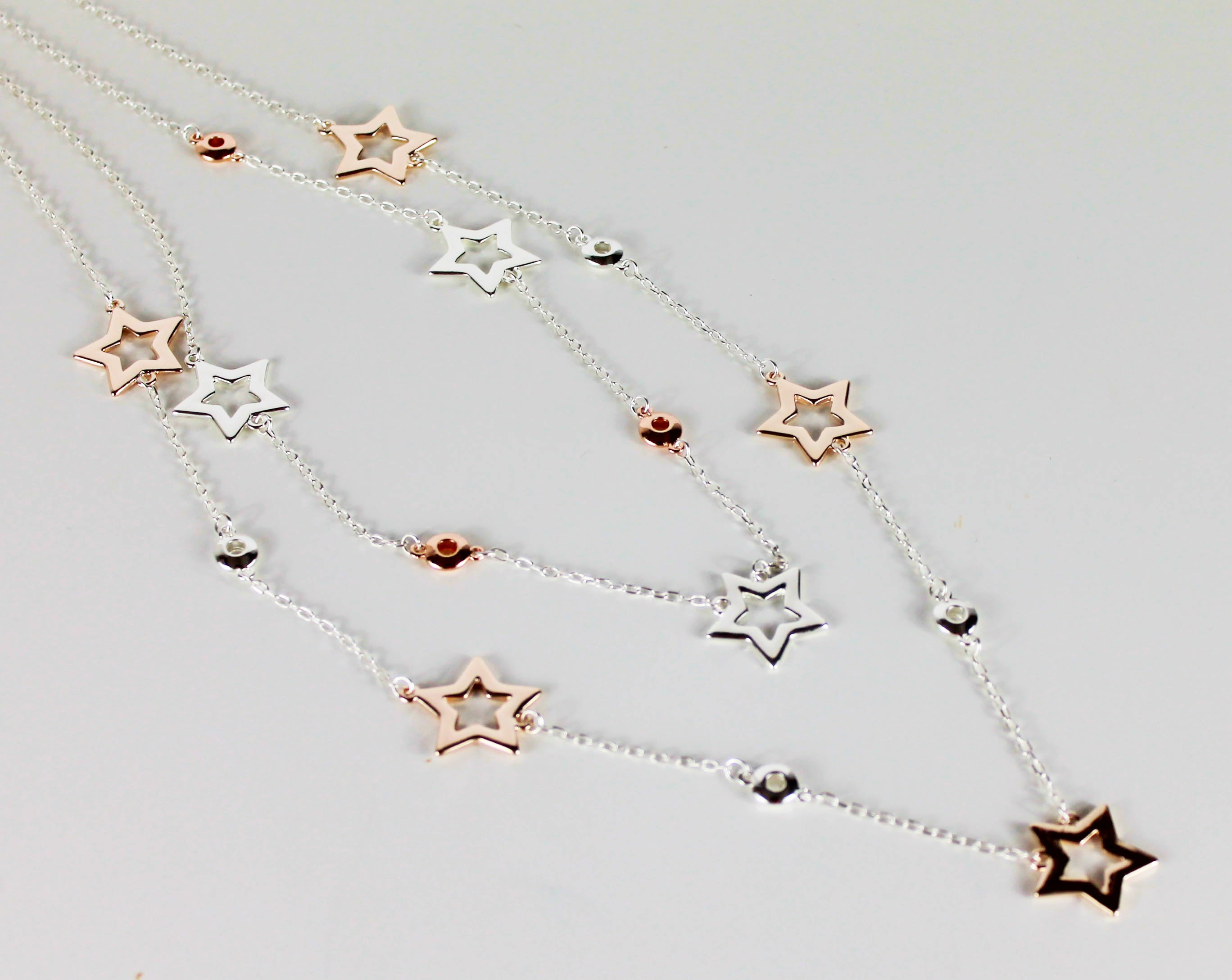 double strand star multiple silver gold long necklace