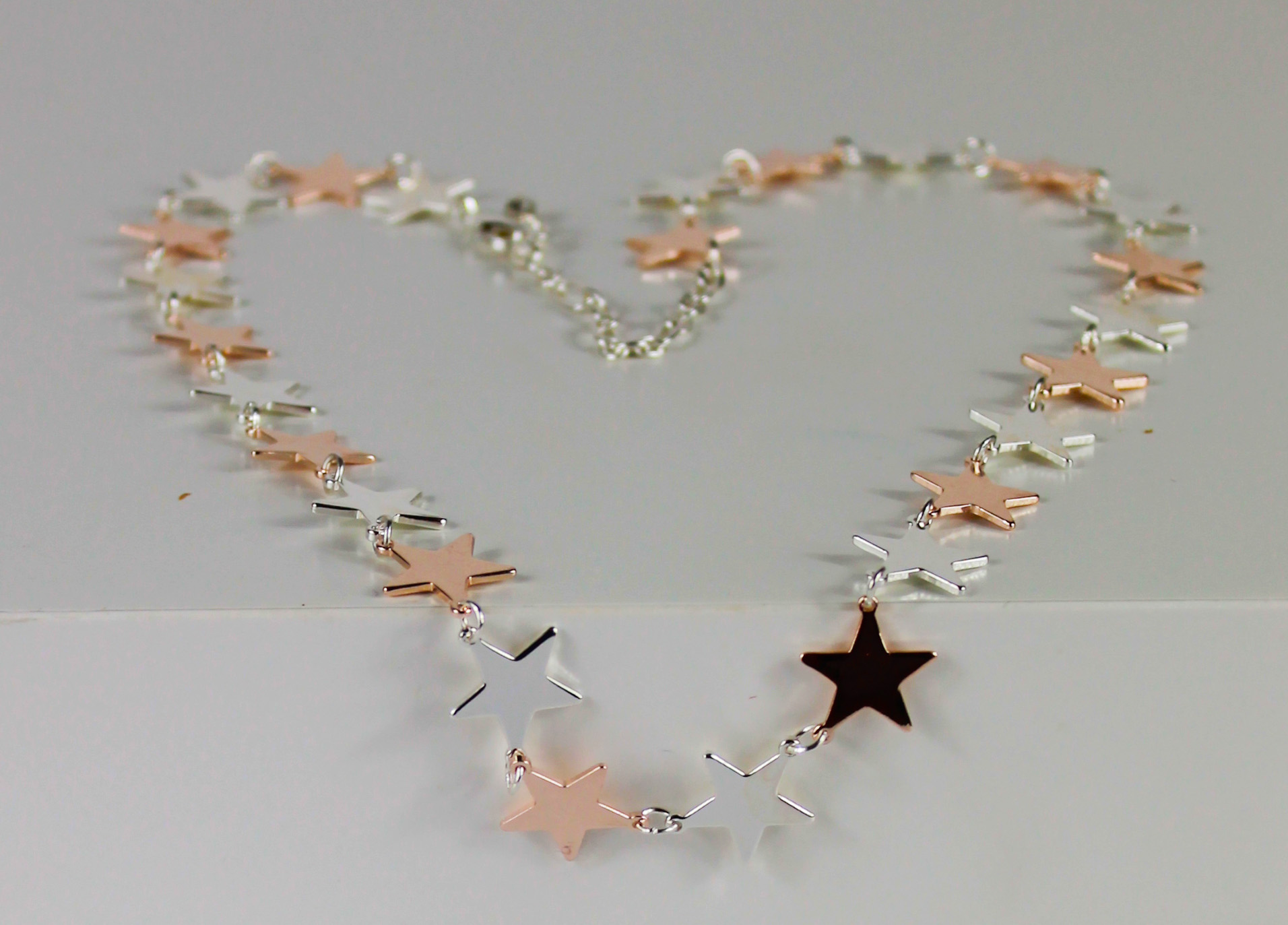 star multiple silver gold short necklace