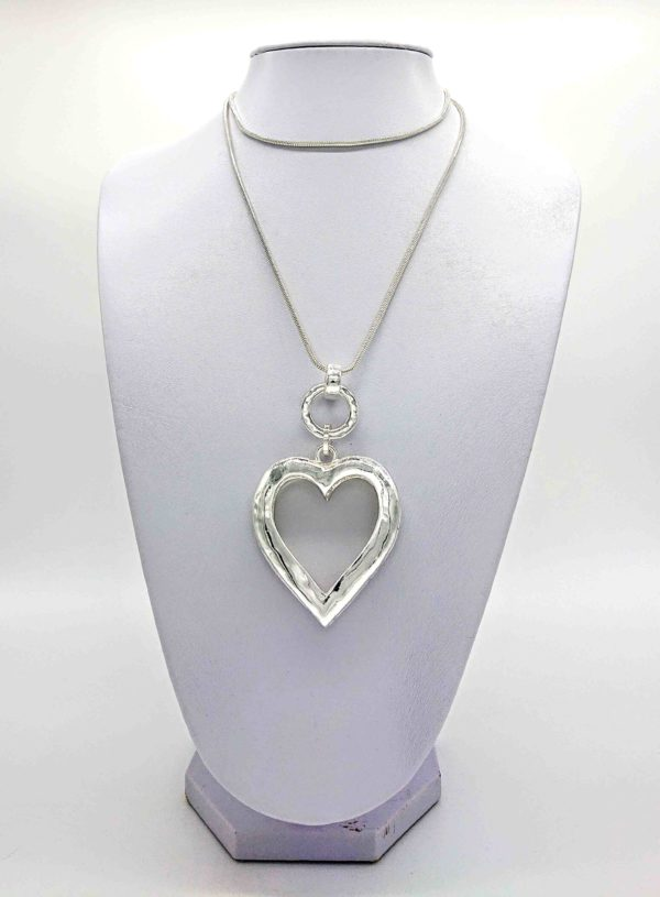 Silver Open Heart long necklace