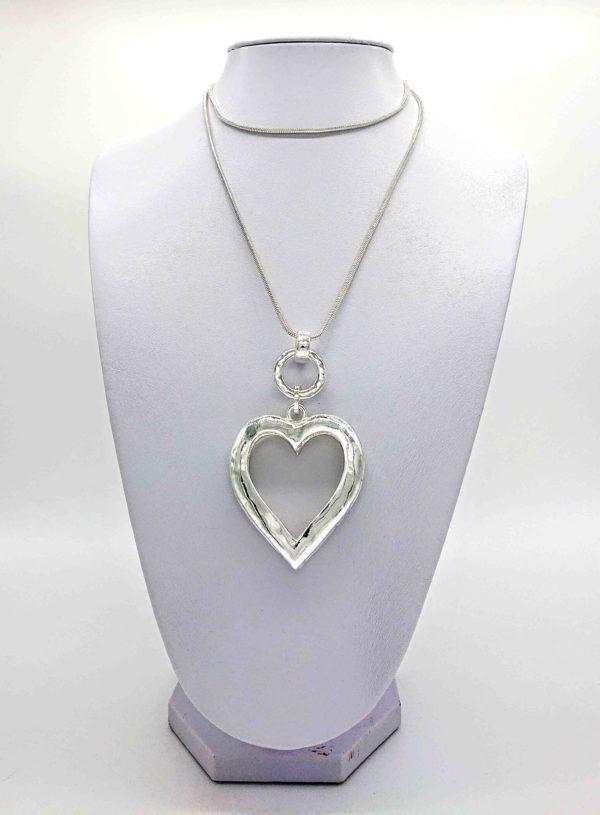 Silver Open Heart long necklace