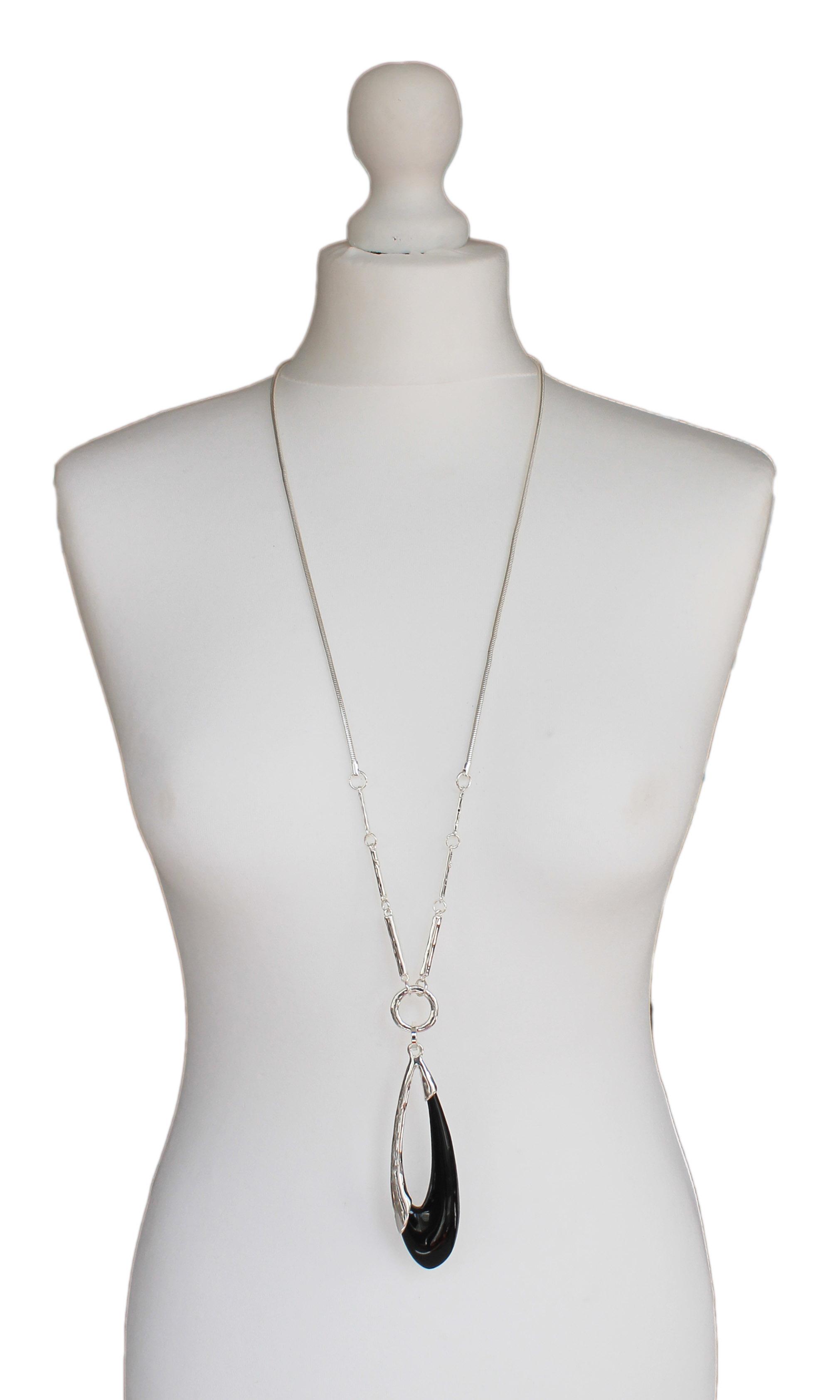 Silver Jewellery Black Oval Necklace
