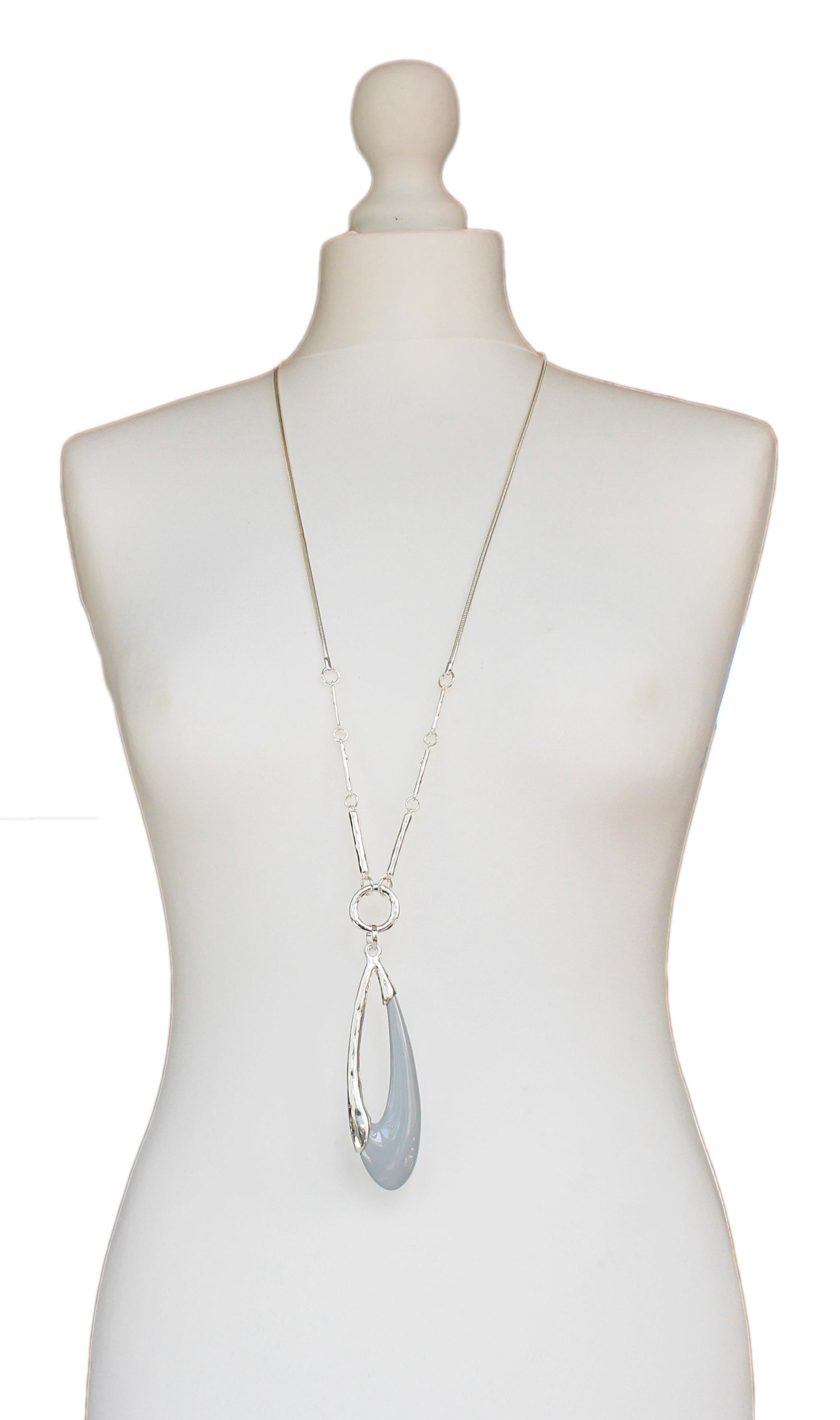 Silver Jewellery Grey Oval Necklace