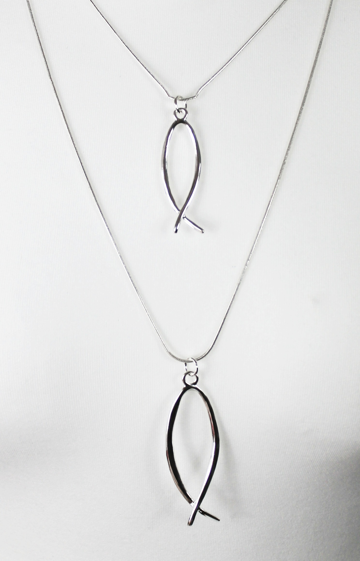silver 2 fish necklace long