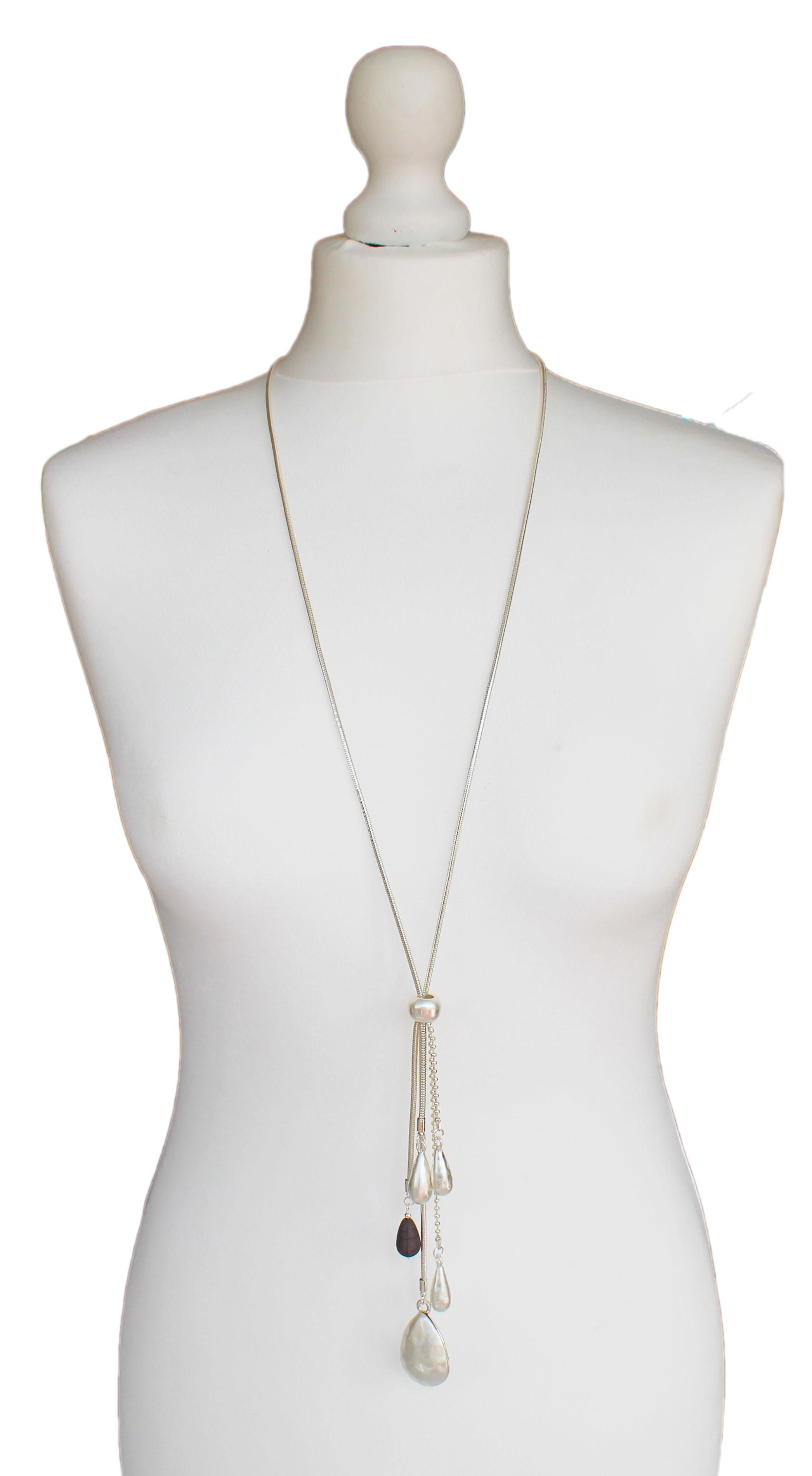 Silver Jewellery Multi Drop Pearlescent Pendant